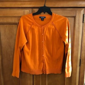 🟠 Lands' End Girls Orange Button Up Cardigan 🟠